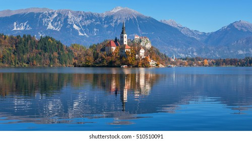 Lake Bled on a beautiful autumn day
