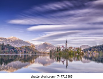 Lake Bled on a cold autumn day