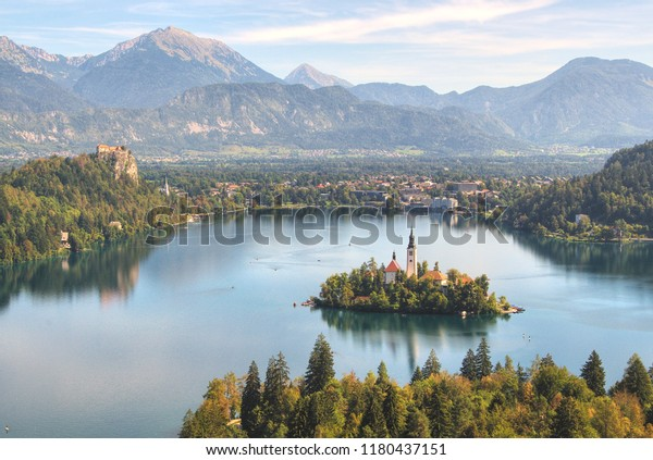 Lake Bled Slovenia Nature Stock Image
