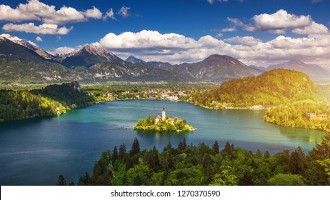Lake Bled Slovenia. Beautiful mountain lake with small Pilgrimage Church. Most famous Slovenian lake and island Bled with Pilgrimage Church of the Assumption of Maria. Bled, Slovenia, Europe.