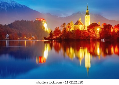 Lake Bled in Slovenia. Captivating seasonal autumn landscape, night scene. Famous and popular romantic landmark.