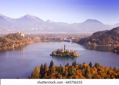 Lake bled, Slovenia with island in autumn