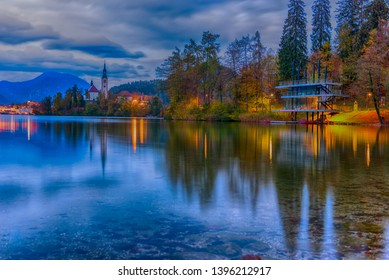 Lake Bled in Slovenia at twilight
