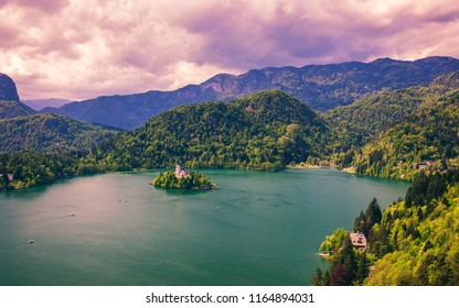 Lake Bled with St. Marys Church of Assumption on small island. Bled, Slovenia, Europe. The Church of the Assumption, Bled, Slovenia. The Lake and Santa Maria Church near Bled, Slovenia.