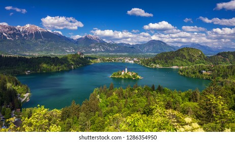Lake Bled with St. Marys Church of Assumption on small island. Bled, Slovenia, Europe. The Church of the Assumption, Bled, Slovenia. The Lake Bled and Santa Maria Church, Slovenia.