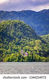 Lake Bled with St. Marys Church of Assumption on small island. Bled, Slovenia, Europe. The Church of the Assumption, Bled, Slovenia. The Lake Bled and Santa Maria Church, Slovenia.