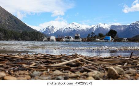 lake boat dock in Patagonia, Argentina