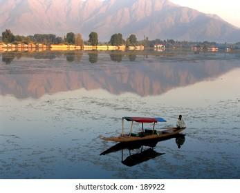 Lake boat reflection