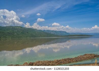 Lake bogoria with blue sky