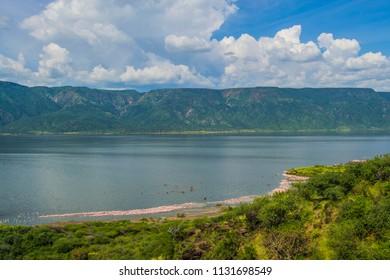 Lake bogoria kenya with blue skies