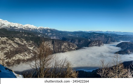 Lake Bohinj in fog from Vogel cable car top station, Slovenia