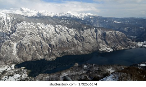 Lake Bohinj in  the Slovenia Alps Europe view fro the top in Winter