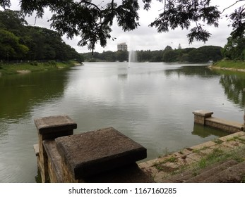 Lake in the botanical garden at Bangalore, India
