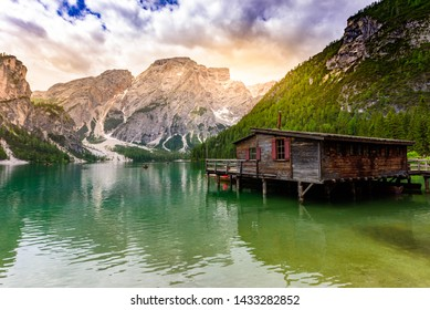 Lake Braies also known as Pragser Wildsee  in beautiful mountain landscape. Relaxing and recreation at Lago di Braies in Dolomites, South Tyrol, Italy, Europe.