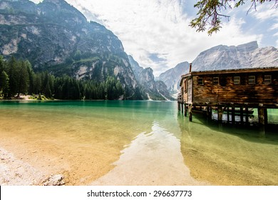 Lake of Braies on the Dolomites, Italy