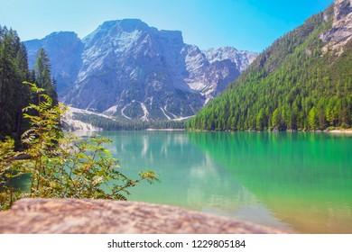 Lake Braies Pragser Wildsee in Dolomites in Italy