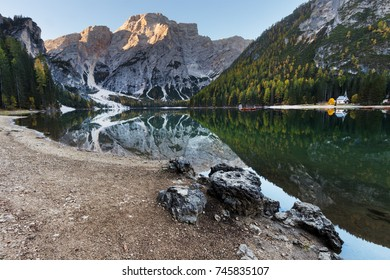 Lake Braies (South Tyrol - Italy) with mountains on background.