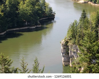 The Lake of Brenets, created by a natural restraint of the water, the waterfall 'Saut du Doubs'