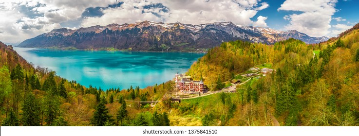 Lake Brienz by Interlaken with the Swiss Alps covered by snow in the background, Switzerland, Europe
