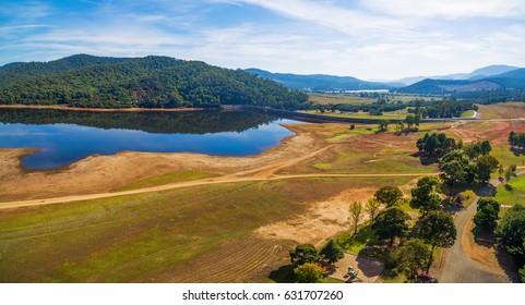 Lake Buffalo on bright sunny day aerial panorama. Victoria, Australia