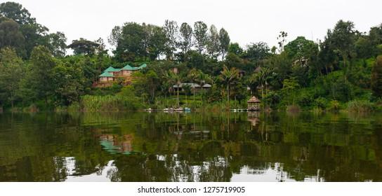 Lake Bunyonyi in Uganda, Africa, at the borders of Uganda, Congo Democratic Republic and Rwanda, not far from the Bwindi National Park, home of the last mountain gorillas