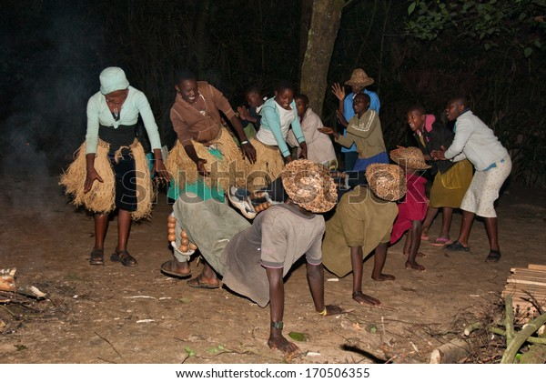 LAKE BUNYONYI, UGANDA - OCTOBER 22: Batwa pygmies dancing on October 22, 2012 at Lake Bunyonyi, Uganda. Pygmy people are ancient dwellers in the forests, they were known as The Keepers of the Forest.