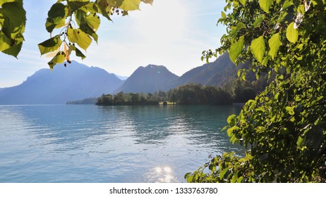 A lake by the mountains. Location: Europe, Austria, Attersee
