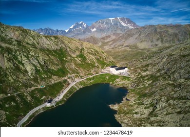 Lake by the pass on the Swiss Italy Alps