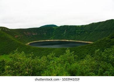 Lake in caldera of volcano on Kamchatka