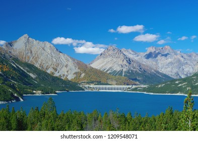 Lake Cancano and the San Giacomo Dam that separates two reservoirs (Lago di San Giacomo and Lago di Cancano) - Lombardy, Italy