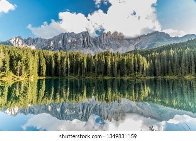 Lake Carezza, Lago di Carezza or Karersee in South Tyrol, Italy