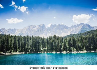 Lake Carezza with Mount Latemar, Bolzano province, South tyrol, Italy
