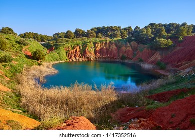 lake in the cave of bauxite near otranto, salento, the eastern part of apulia, italy