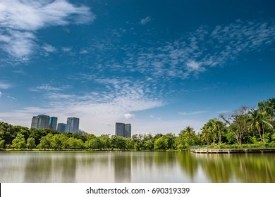 The lake at the central park in Bangkok, Thailand. The park that most people that living here were visited.