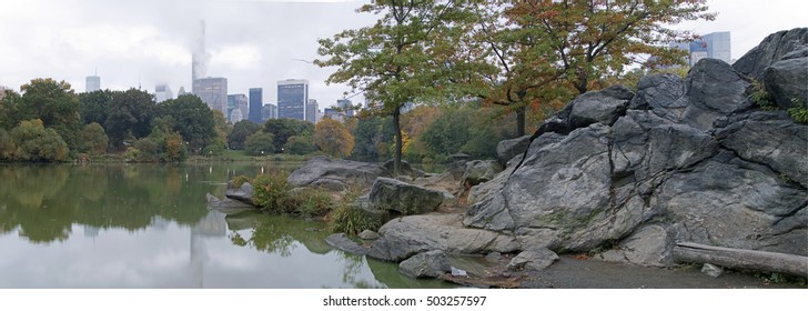 At the Lake in Central Park, New York City in autumn