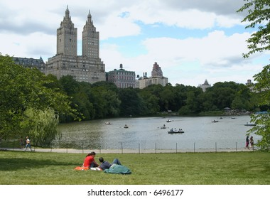 Lake in Central Park with The San Remo, New York City