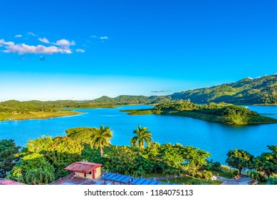 Lake in the central part of Cuba. The area is famous for the practice of ecotourism. Beauty in nature with vibrant colors.