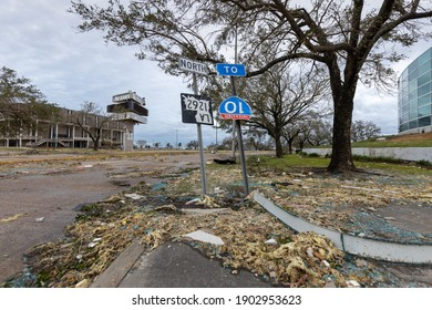 Lake Charles, LA US - August 27, 2020 [Hurricane Laura makes landfall as a category 4 storm causing severe hurricane damage to buildings in downtown Lake Charles, Louisiana.]