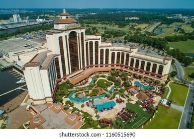 LAKE CHARLES, LOUISIANA, USA - AUGUST 1, 2018: Aerial image of the Lauberge Resort Casino on Lake Charles Louisiana