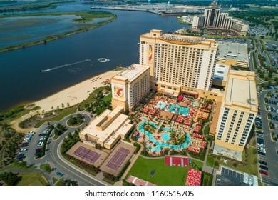 LAKE CHARLES, LOUISIANA, USA - AUGUST 1, 2018: Aerial drone photo Golden Nugget Casino Resort Lake Charles Louisiana USA