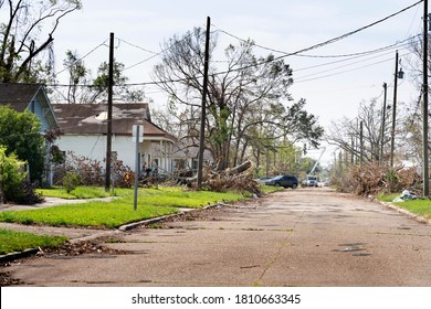 Lake Charles, Louisiana. USA - September 6, 2020:  Hurricane Laura. Destruction from strong winds. Rubbish, damaged roofs of houses, street, branches