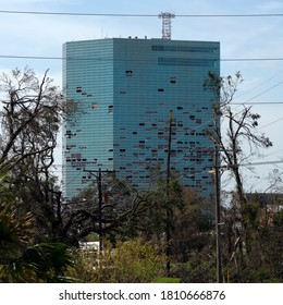 Lake Charles, Louisiana. USA - September 6, 2020:   Hurricane Laura. Destruction from strong winds. Broken windows in a high-rise building
