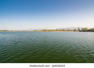 Lake Chiemsee on a day in spring, Bavaria in Germany
