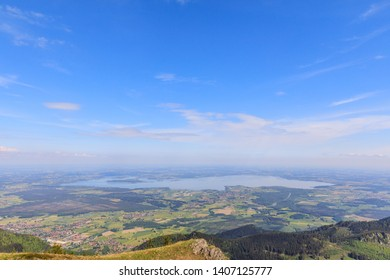 Lake Chiemsee, view from Mountain Hochgern on a sunny summer day
