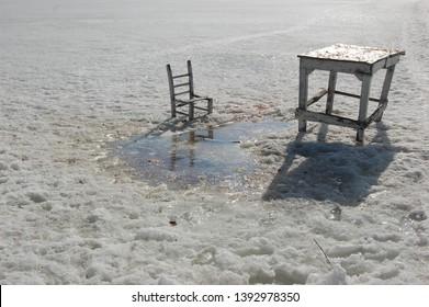 Lake Cildir frozen in city of Ardahan Turkey