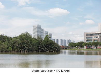 The lake with city background.