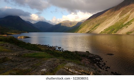 Lake close to Wasdale Head, England. near to Scafell Pike. Taken late afternoon in the setting sun.