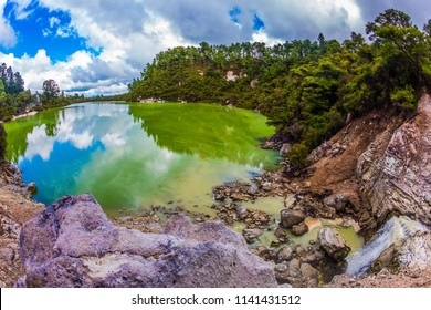 Lake with colorful opaque water. The magic country is Wai - O - Tapu. New Zealand, North Island. The concept of active and phototourism