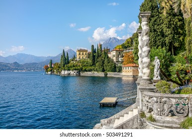 Lake Como coast landscape at Varena old town, Italy.