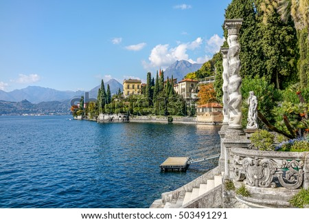 Lake Como coast landscape at Varena old town, Italy.